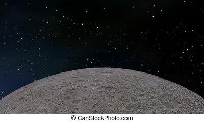 Moon orbiting through space
