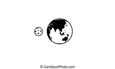 Moon orbits the earth. Looped animated icon with alpha channel and with black background option.