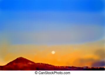 Moon over a hill, water color painting