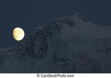 Moon over Belukha summit