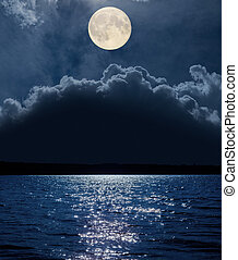 moon over clouds and river with reflections