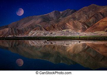 Moon over Kara Kul lake