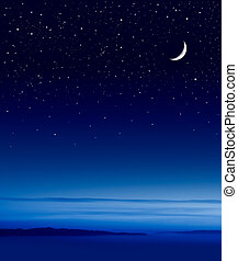 Moon over Ocean - The moon and stars over the Pacific ocean.