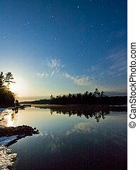 Moon Over Still Lake at Night