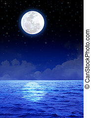 Moon Over The Ocean - Stock image of the moon over the ocean