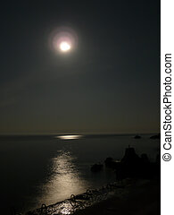 moon over the sea with reflections in the water
