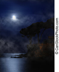 Moon over the sea - Moon is shining over the calm sea in the...