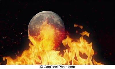 Moon Passing Behing Raging Fire - Full moon passes behind...