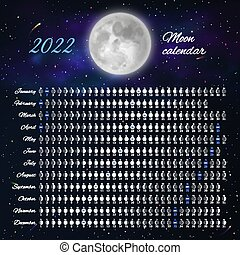 2022 Calendar With Moon Phases.Moon Lunar Calendar Monthly Cycle Planner Design 2022 Year Astrological Calendar Banner Poster Card Editable Template Canstock
