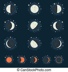 moon phase - All possible phases of the moon and the lunar...