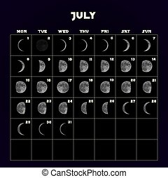 Moon phases calendar for 2019 with realistic moon. July. Vector.
