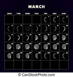 Moon phases calendar for 2019 with realistic moon. March. Vector.