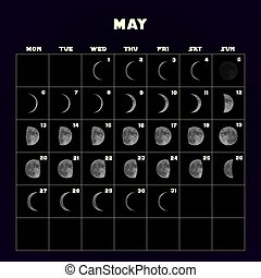 Moon phases calendar for 2019 with realistic moon. May. Vector.