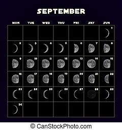 Moon phases calendar for 2019 with realistic moon. September. Vector.