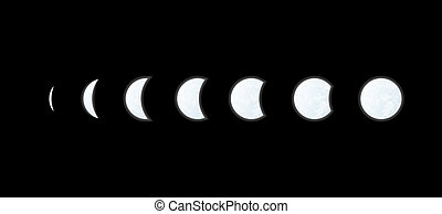 moon phases - phases of the moon on black background, vector