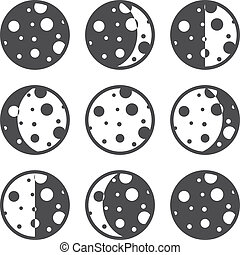 Moon phases icons. Vector illustration EPS 8.