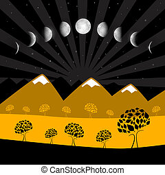 Moon Phases - Night Landscape with Trees