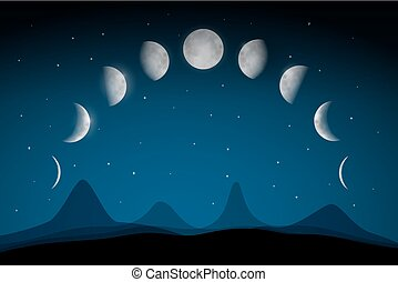 Moon Phases on Dark Night Sky Above Abstract Landscape. Vector.