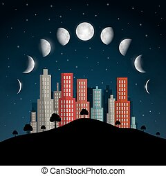 Moon Phases Vector Illustration. Night Abstract City.
