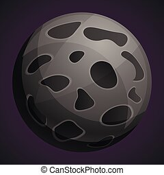 Moon planet icon, cartoon style