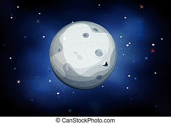 Moon Planet On Space Background