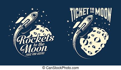 Moon posters with a flying rocket