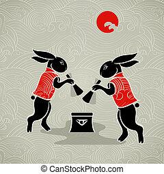Moon rabbits - Japanese moon rabbits making mochi (rice...