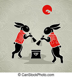 Moon rabbits - Japanese moon rabbits making mochi (rice...