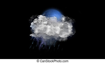 Moon Rain Lightning, Weather Forecast Icon with Alpha...