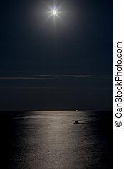 Moon reflecting in a sea, night time, moon path, clear night