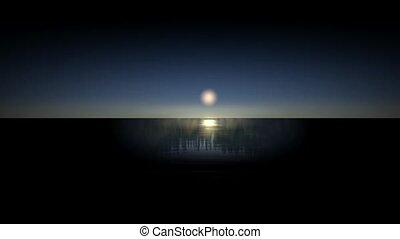 Moon reflection in the sea.
