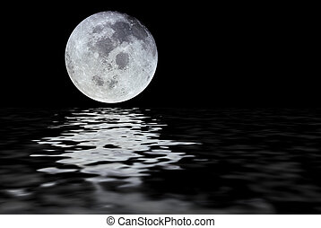 Moon reflection - Moon with water reflection isolated over a...