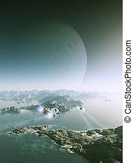 Moon Rise on an Alien World