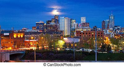 Moon Rising Above Denver, Colorado Skyline