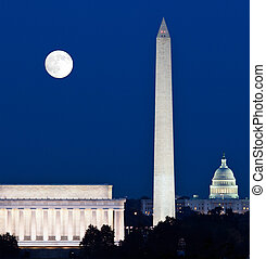 Moon rising in Washington DC - Full Harvest moon rising ...