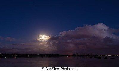 Moon rising reflection on a lake