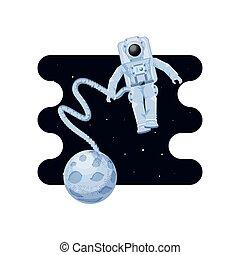 moon satellite with astronaut space scene