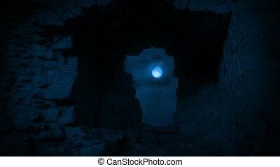 Moon Seen Through Old Castle Wall - Full moon seen through...