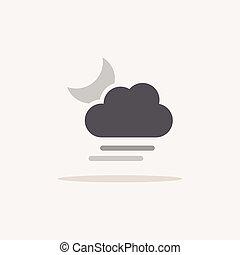 moon., shadow., 雲, 柔らかい, 天候色, ベクトル, アイコン, イラスト, 霧