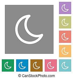 Moon shape square flat icons