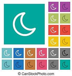 Moon shape square flat multi colored icons