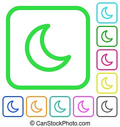Moon shape vivid colored flat icons icons