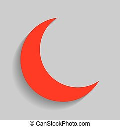 Moon sign illustration. Vector. Red icon with soft shadow on gray background.