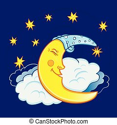 Moon sleeping on a cloud with stars in the night sky