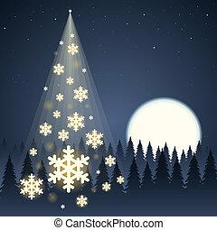 Moon Snowflake Christmas Tree