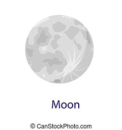 Moon space icon, flat style