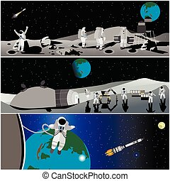 Moon space station vector illustration. Astronaut in...