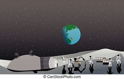 Moon space station vector illustration