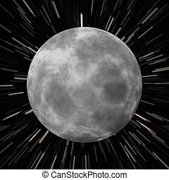 Illustration of the moon over a star field background with high speed effects to show movement.