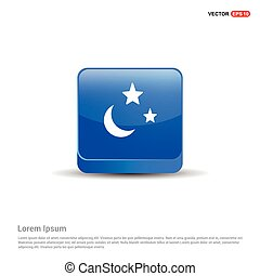 Moon, Star Icon - 3d Blue Button